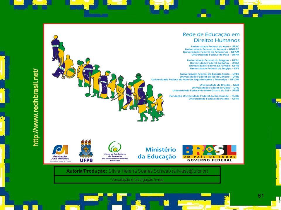 61 http://www.redhbrasil.net/ Autoria/Produção: Sílvia Helena Soares Schwab (silviass@ufpr.br) Veiculação e divulgação livres