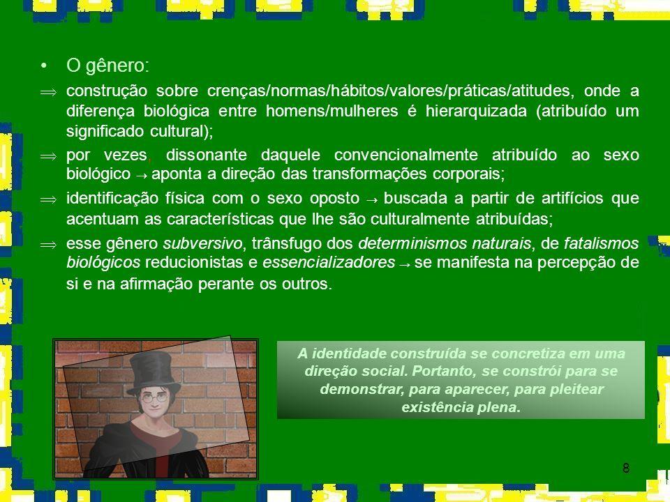 8 O gênero: Þconstrução sobre crenças/normas/hábitos/valores/práticas/atitudes, onde a diferença biológica entre homens/mulheres é hierarquizada (atri