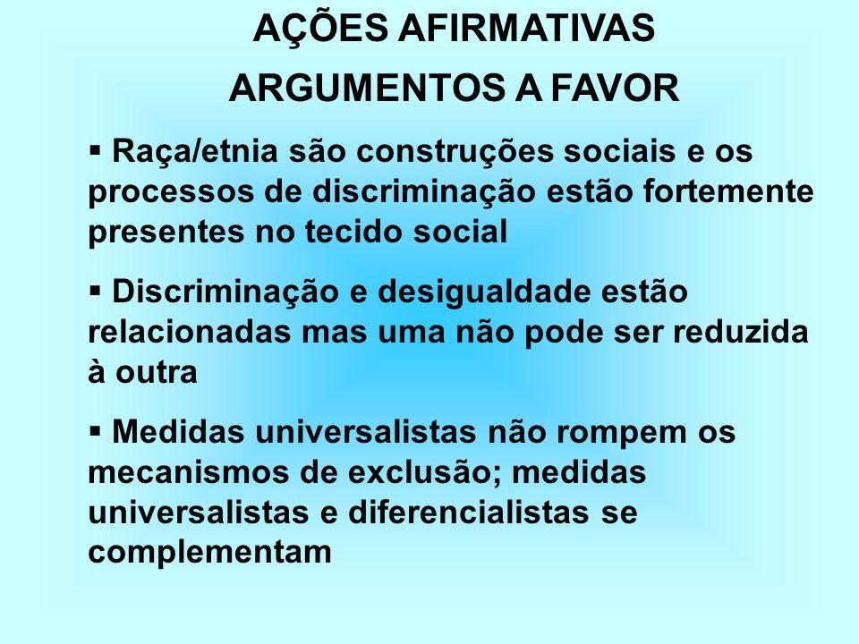 AÇÕES AFIRMATIVAS ARGUMENTOS CONTRA Somos um só povo, as situações de discriminação são localizadas e contextuais As diferenças se reduzem às desigual