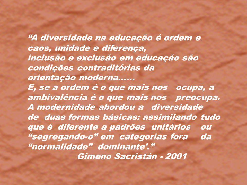 A diversidade na educação é ordem e caos, unidade e diferença, inclusão e exclusão em educação são condições contraditórias da orientação moderna.....