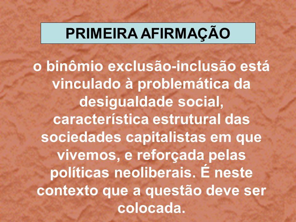 o binômio exclusão-inclusão está vinculado à problemática da desigualdade social, característica estrutural das sociedades capitalistas em que vivemos