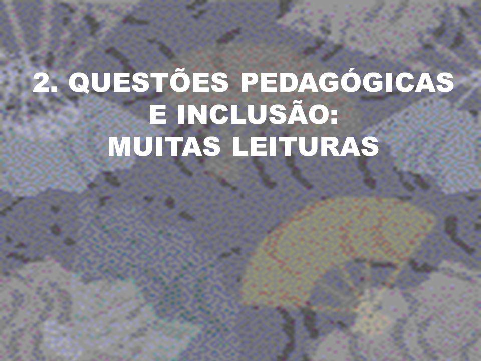 2. QUESTÕES PEDAGÓGICAS E INCLUSÃO: MUITAS LEITURAS