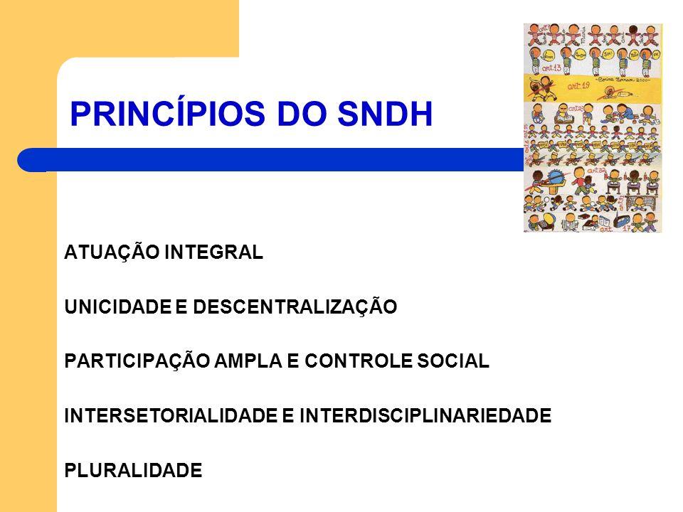 PRINCÍPIOS DO SNDH ATUAÇÃO INTEGRAL UNICIDADE E DESCENTRALIZAÇÃO PARTICIPAÇÃO AMPLA E CONTROLE SOCIAL INTERSETORIALIDADE E INTERDISCIPLINARIEDADE PLUR