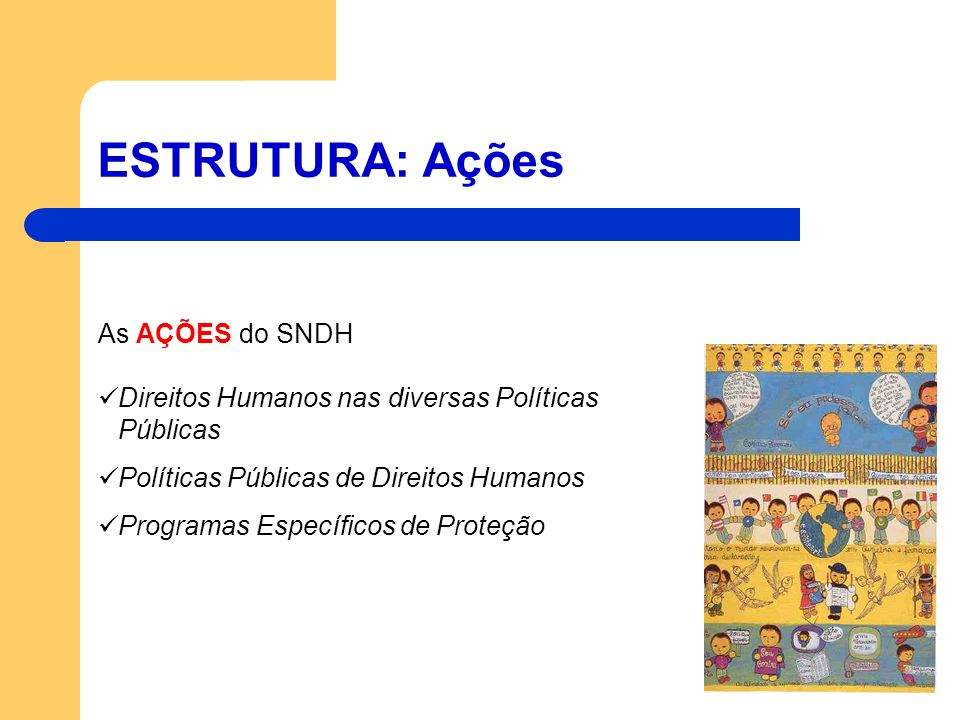 ESTRUTURA: Ações As AÇÕES do SNDH Direitos Humanos nas diversas Políticas Públicas Políticas Públicas de Direitos Humanos Programas Específicos de Pro