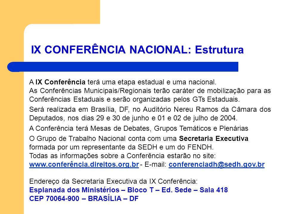 IX CONFERÊNCIA NACIONAL: Estrutura A IX Conferência terá uma etapa estadual e uma nacional. As Conferências Municipais/Regionais terão caráter de mobi