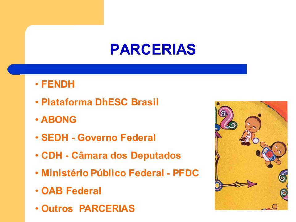 PARCERIAS FENDH Plataforma DhESC Brasil ABONG SEDH - Governo Federal CDH - Câmara dos Deputados Ministério Público Federal - PFDC OAB Federal Outros P