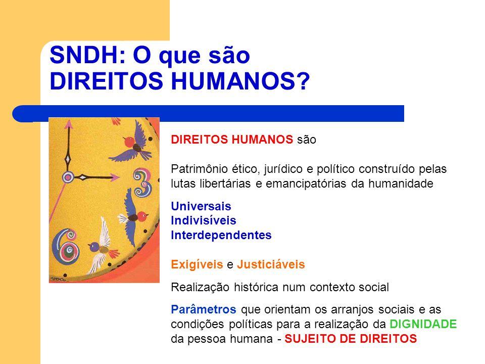 SNDH: O que são DIREITOS HUMANOS? DIREITOS HUMANOS são Patrimônio ético, jurídico e político construído pelas lutas libertárias e emancipatórias da hu