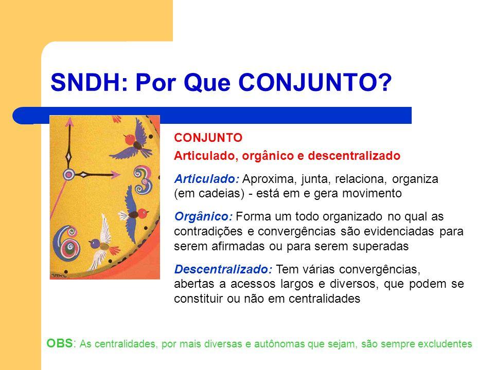 SNDH: Por Que CONJUNTO? CONJUNTO Articulado, orgânico e descentralizado Articulado: Aproxima, junta, relaciona, organiza (em cadeias) - está em e gera
