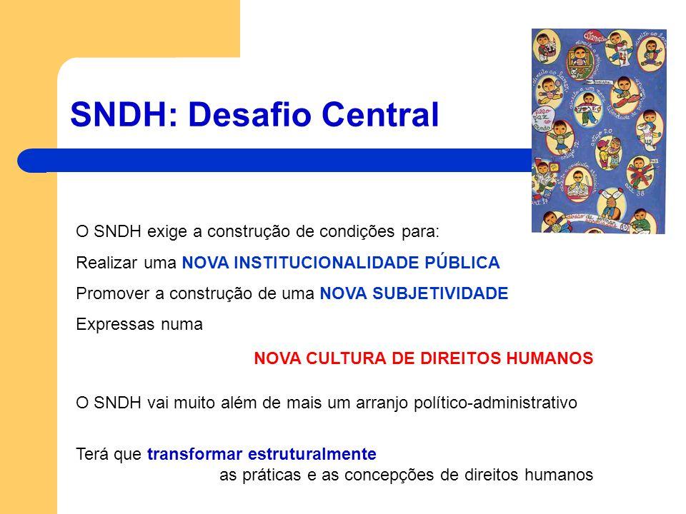 SNDH: Desafio Central O SNDH exige a construção de condições para: Realizar uma NOVA INSTITUCIONALIDADE PÚBLICA Promover a construção de uma NOVA SUBJ