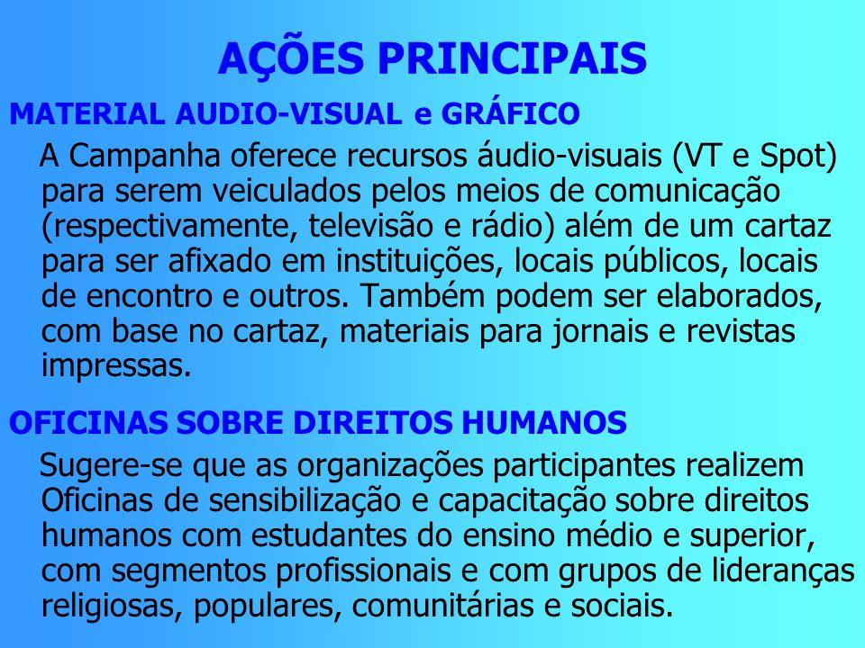 AÇÕES PRINCIPAIS MATERIAL AUDIO-VISUAL e GRÁFICO A Campanha oferece recursos áudio-visuais (VT e Spot) para serem veiculados pelos meios de comunicaçã