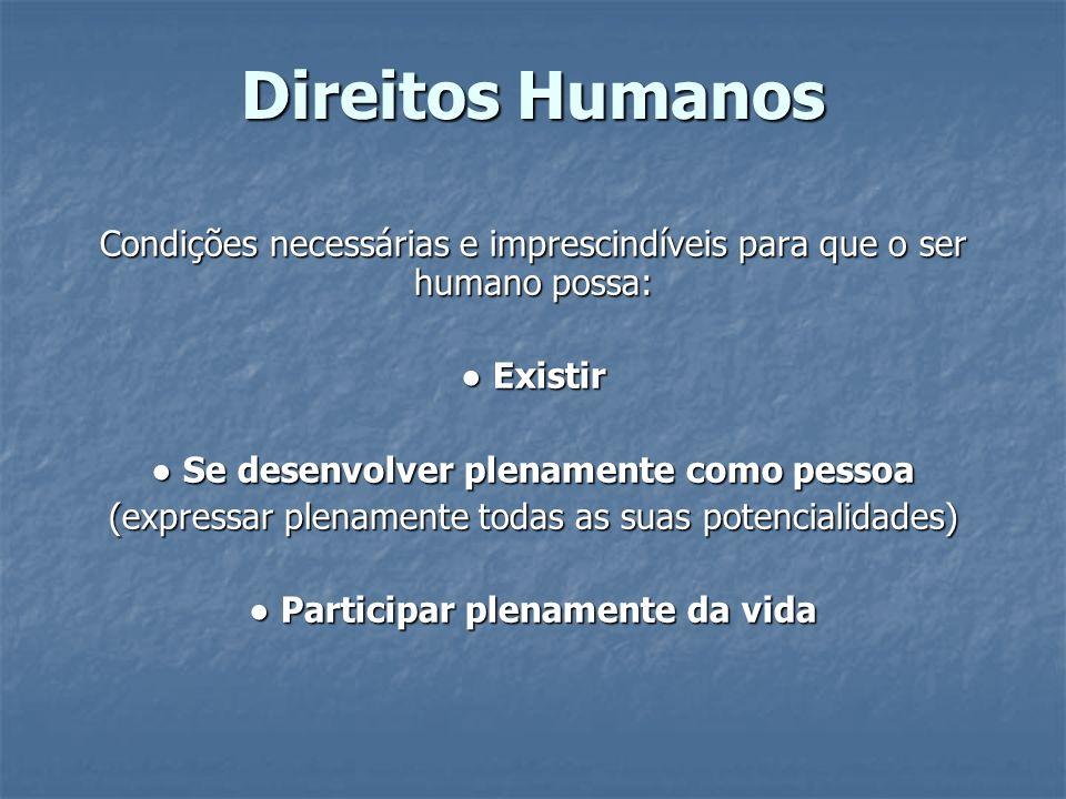 Direitos Humanos Condições necessárias e imprescindíveis para que o ser humano possa: Existir Existir Se desenvolver plenamente como pessoa Se desenvo