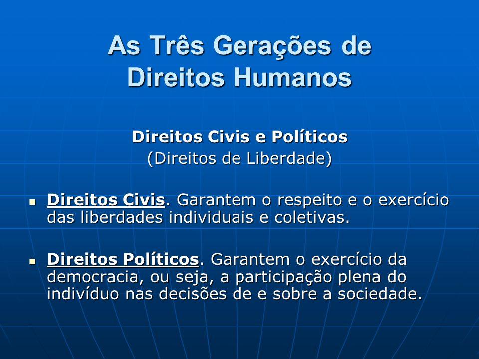 As Três Gerações de Direitos Humanos Direitos Civis e Políticos (Direitos de Liberdade) Direitos Civis. Garantem o respeito e o exercício das liberdad