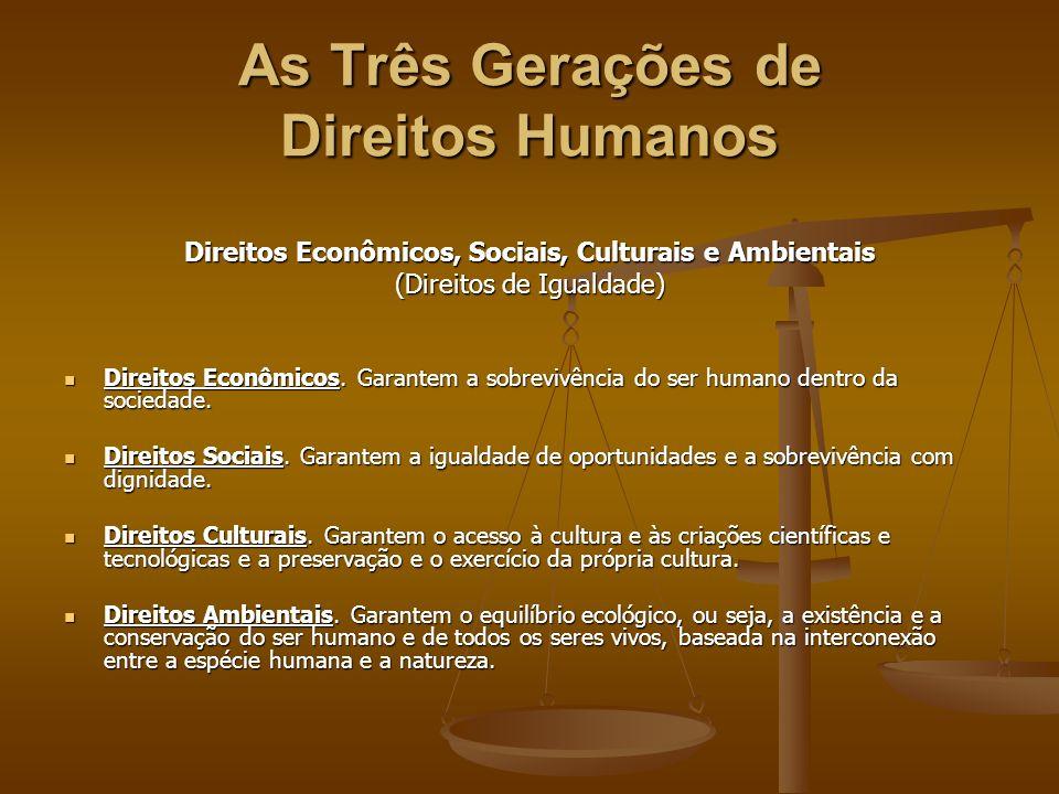 As Três Gerações de Direitos Humanos Direitos Econômicos, Sociais, Culturais e Ambientais (Direitos de Igualdade) Direitos Econômicos. Garantem a sobr