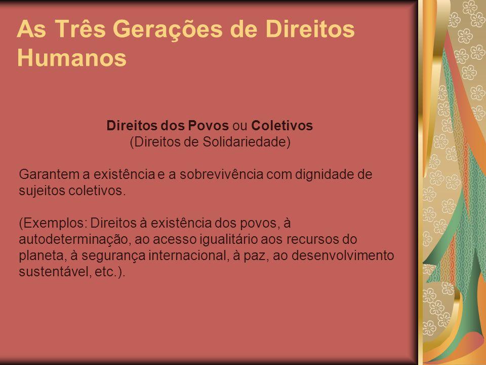 As Três Gerações de Direitos Humanos Direitos dos Povos ou Coletivos (Direitos de Solidariedade) Garantem a existência e a sobrevivência com dignidade