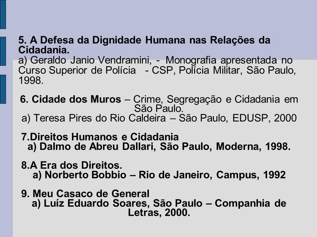 5.A Defesa da Dignidade Humana nas Relações da Cidadania.