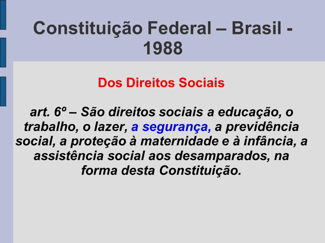 Constituição Federal – Brasil - 1988 Dos Direitos Sociais art.