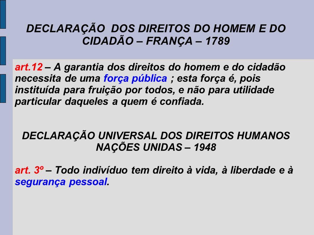 DECLARAÇÃO DOS DIREITOS DO HOMEM E DO CIDADÃO – FRANÇA – 1789 art.12 – A garantia dos direitos do homem e do cidadão necessita de uma força pública ; esta força é, pois instituída para fruição por todos, e não para utilidade particular daqueles a quem é confiada.