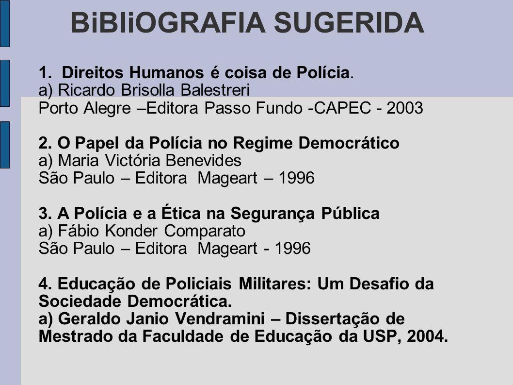 BiBliOGRAFIA SUGERIDA 1.Direitos Humanos é coisa de Polícia.