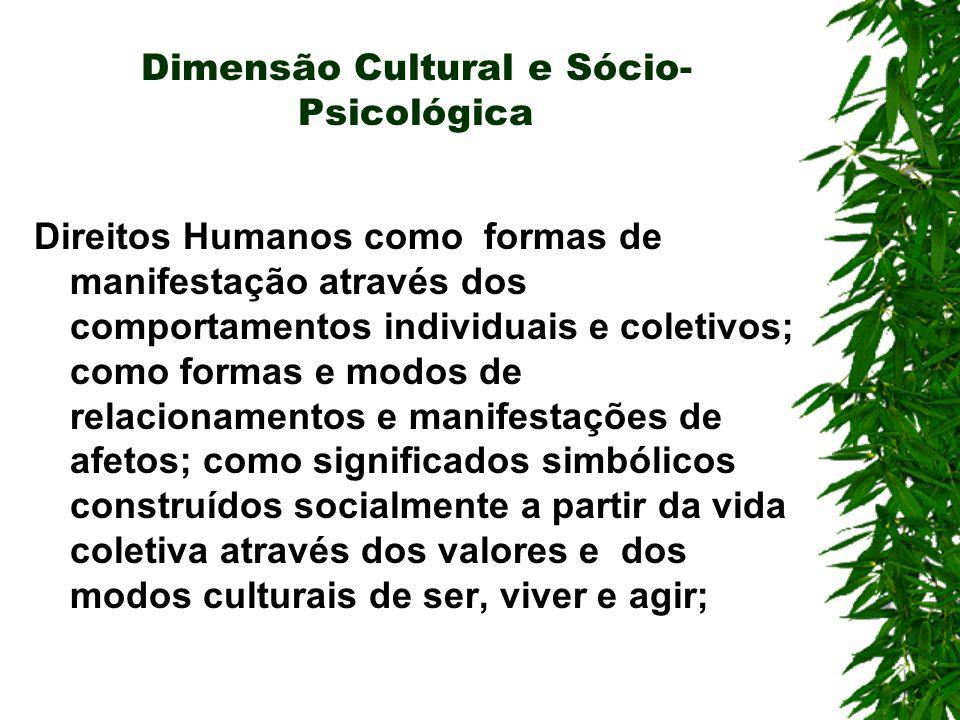 Dimensão Cultural e Sócio- Psicológica Direitos Humanos como formas de manifestação através dos comportamentos individuais e coletivos; como formas e modos de relacionamentos e manifestações de afetos; como significados simbólicos construídos socialmente a partir da vida coletiva através dos valores e dos modos culturais de ser, viver e agir;