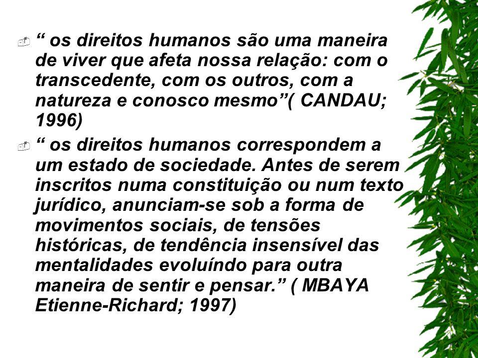 os direitos humanos são uma maneira de viver que afeta nossa relação: com o transcedente, com os outros, com a natureza e conosco mesmo( CANDAU; 1996) os direitos humanos correspondem a um estado de sociedade.
