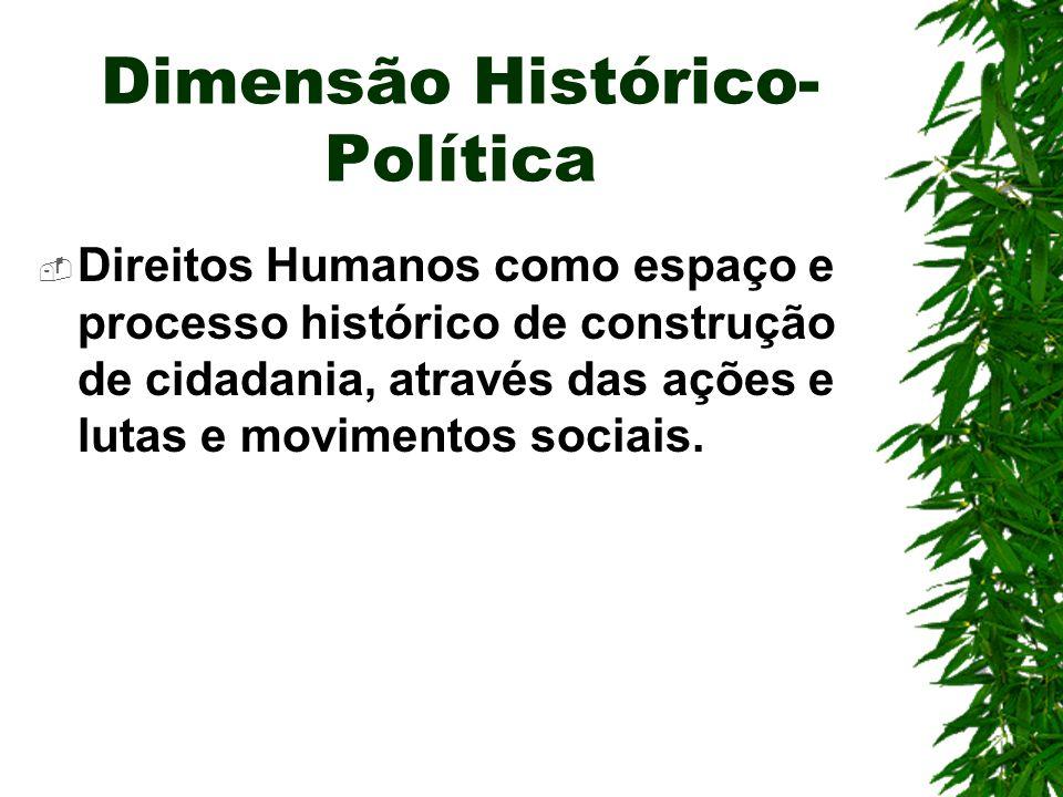 Dimensão Histórico- Política Direitos Humanos como espaço e processo histórico de construção de cidadania, através das ações e lutas e movimentos sociais.
