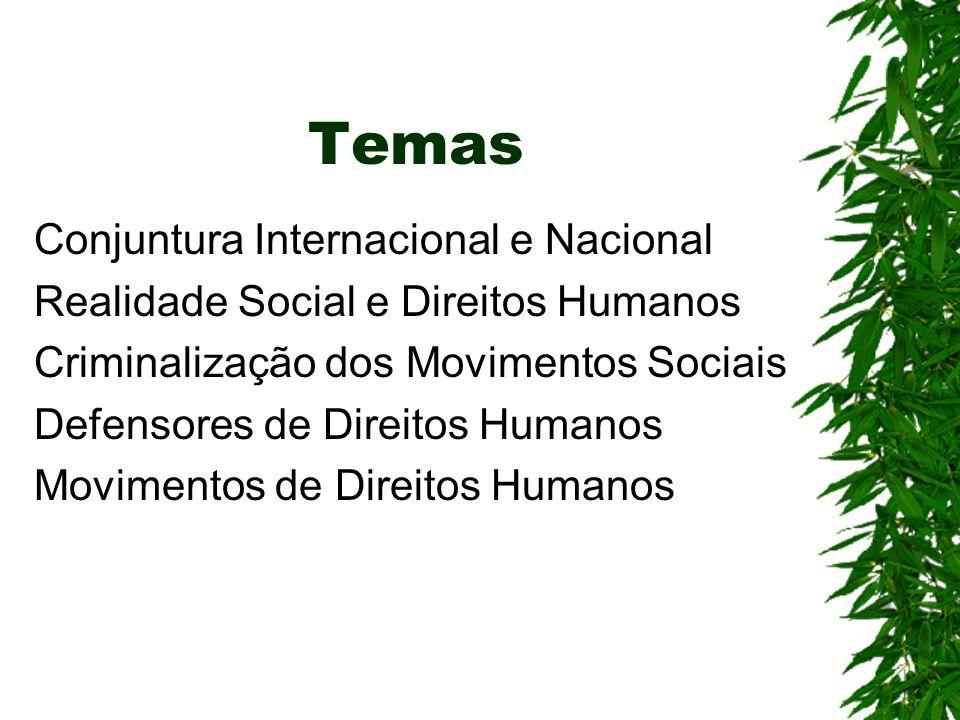Temas Conjuntura Internacional e Nacional Realidade Social e Direitos Humanos Criminalização dos Movimentos Sociais Defensores de Direitos Humanos Movimentos de Direitos Humanos