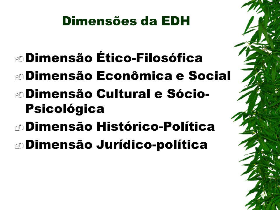 Dimensão Ético-Filosófica Direitos Humanos como um modo de pensar, sentir, refletir, explicar, agir consigo com os outros e com a realidade social, com base em princípios ético- jurídicos dos Direitos Humanos;
