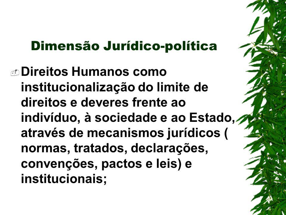 Dimensão Jurídico-política Direitos Humanos como institucionalização do limite de direitos e deveres frente ao indivíduo, à sociedade e ao Estado, através de mecanismos jurídicos ( normas, tratados, declarações, convenções, pactos e leis) e institucionais;