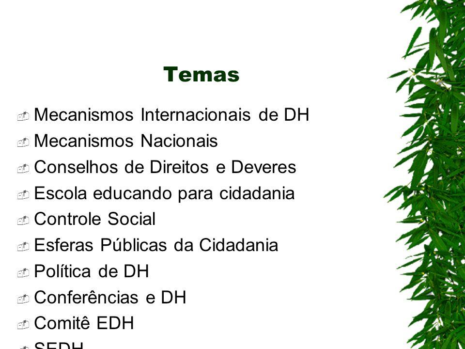 Temas Mecanismos Internacionais de DH Mecanismos Nacionais Conselhos de Direitos e Deveres Escola educando para cidadania Controle Social Esferas Públicas da Cidadania Política de DH Conferências e DH Comitê EDH SEDH