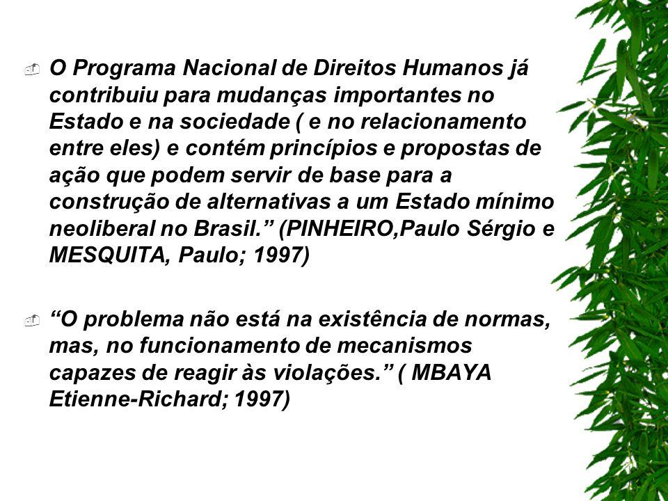 O Programa Nacional de Direitos Humanos já contribuiu para mudanças importantes no Estado e na sociedade ( e no relacionamento entre eles) e contém princípios e propostas de ação que podem servir de base para a construção de alternativas a um Estado mínimo neoliberal no Brasil.