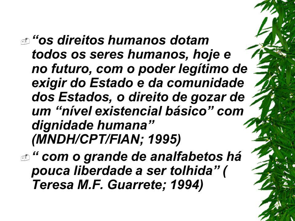os direitos humanos dotam todos os seres humanos, hoje e no futuro, com o poder legítimo de exigir do Estado e da comunidade dos Estados, o direito de gozar de um nível existencial básico com dignidade humana (MNDH/CPT/FIAN; 1995) com o grande de analfabetos há pouca liberdade a ser tolhida ( Teresa M.F.