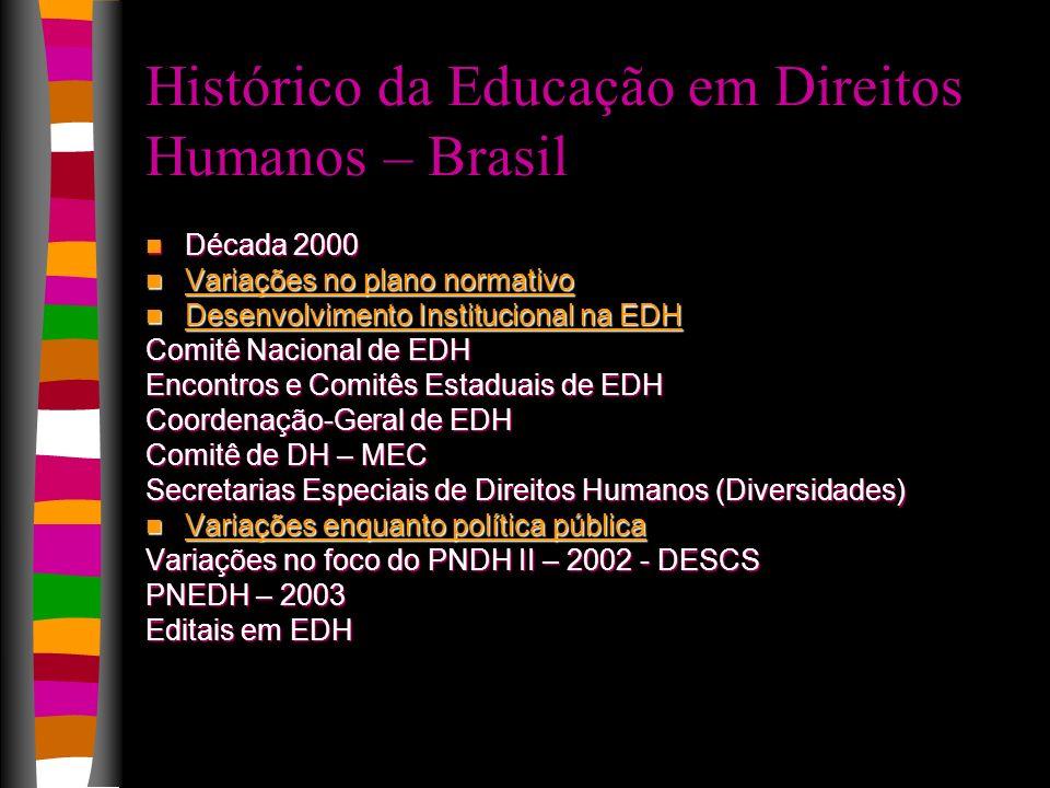 Histórico da Educação em Direitos Humanos – Brasil Década 2000 Década 2000 Variações no plano normativo Variações no plano normativo Desenvolvimento I