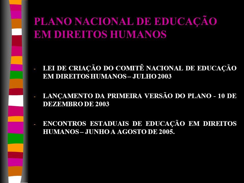 PLANO NACIONAL DE EDUCAÇÃO EM DIREITOS HUMANOS - LEI DE CRIAÇÃO DO COMITÊ NACIONAL DE EDUCAÇÃO EM DIREITOS HUMANOS – JULHO 2003 - LANÇAMENTO DA PRIMEI