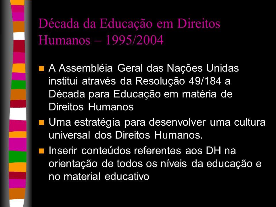 Década da Educação em Direitos Humanos – 1995/2004 A Assembléia Geral das Nações Unidas institui através da Resolução 49/184 a Década para Educação em