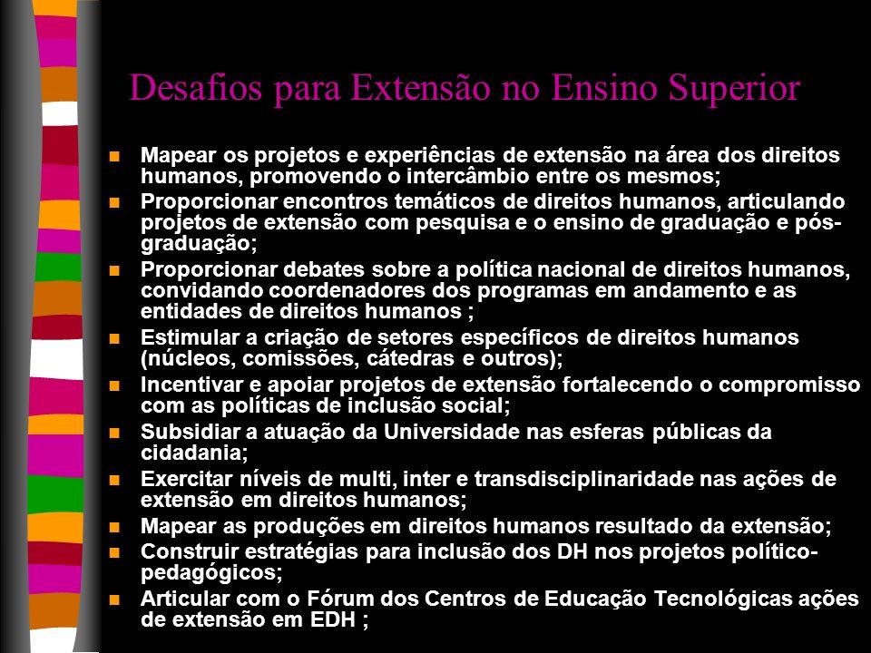 Desafios para Extensão no Ensino Superior Mapear os projetos e experiências de extensão na área dos direitos humanos, promovendo o intercâmbio entre o