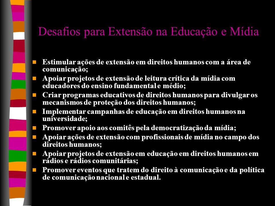 Desafios para Extensão na Educação e Mídia Estimular ações de extensão em direitos humanos com a área de comunicação; Apoiar projetos de extensão de l