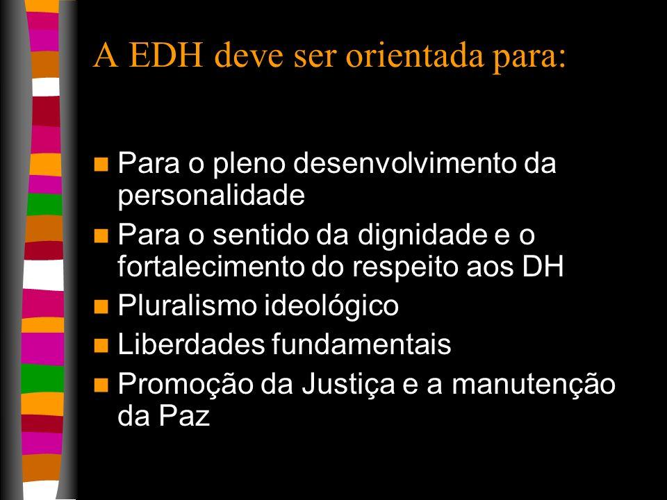 A EDH deve ser orientada para: Para o pleno desenvolvimento da personalidade Para o sentido da dignidade e o fortalecimento do respeito aos DH Plurali