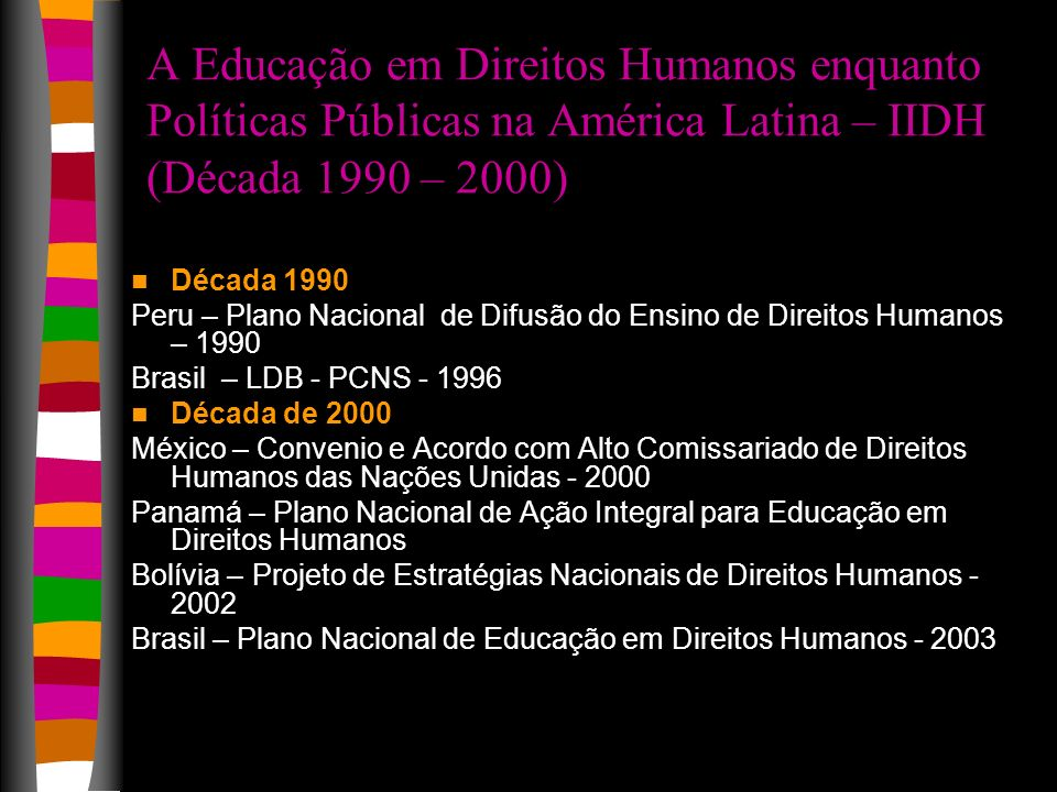 A Educação em Direitos Humanos enquanto Políticas Públicas na América Latina – IIDH (Década 1990 – 2000) Década 1990 Peru – Plano Nacional de Difusão