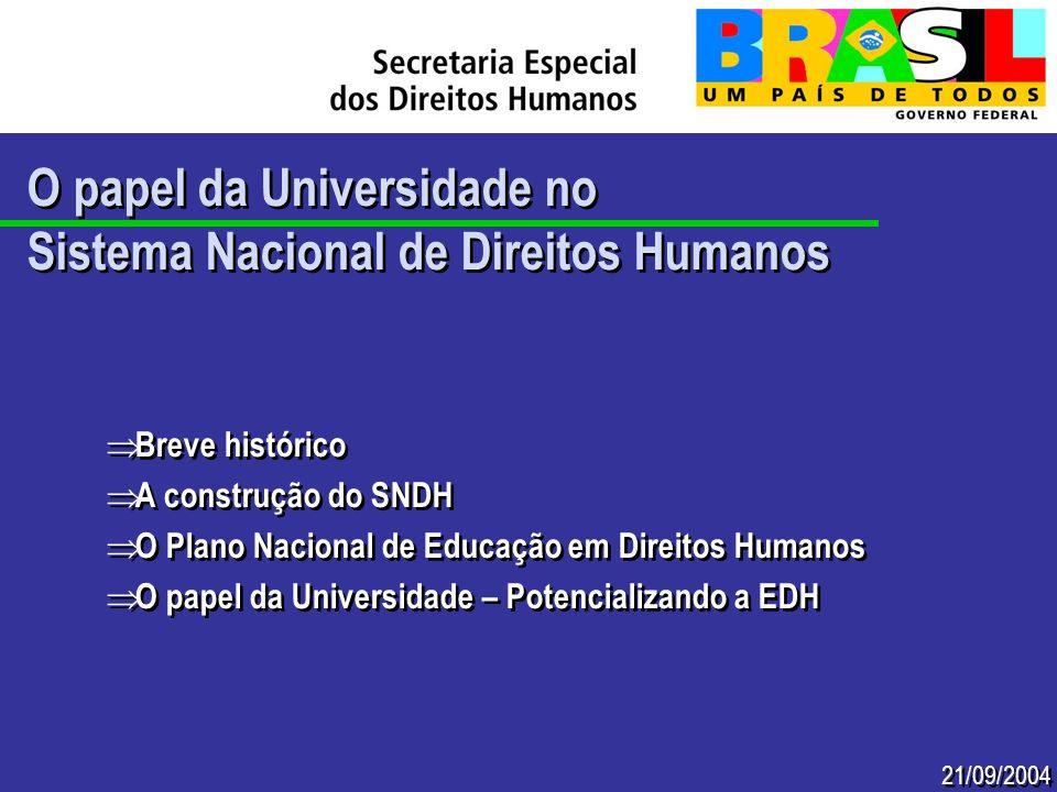 21/09/2004 O papel da Universidade no Sistema Nacional de Direitos Humanos O papel da Universidade no Sistema Nacional de Direitos Humanos Breve histó
