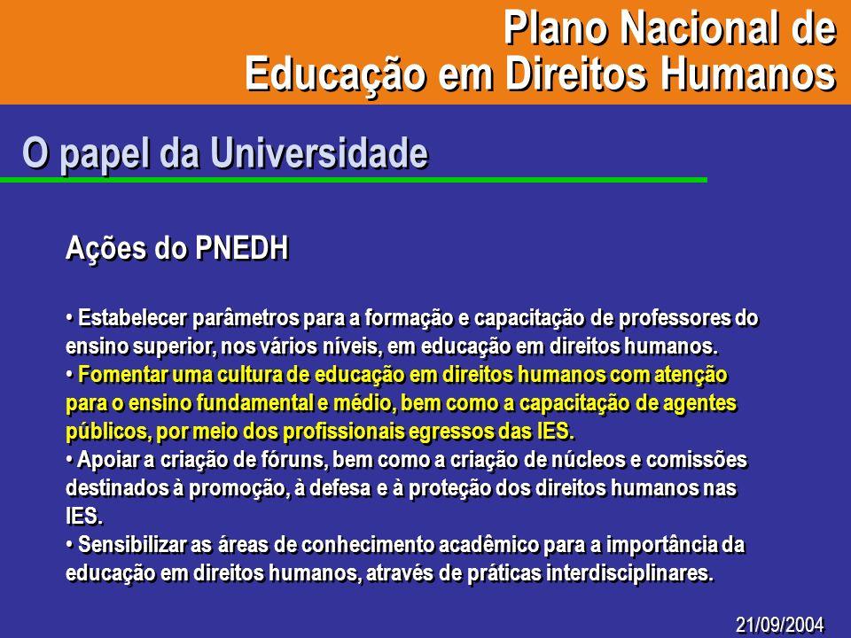 21/09/2004 O papel da Universidade Ações do PNEDH Estabelecer parâmetros para a formação e capacitação de professores do ensino superior, nos vários n