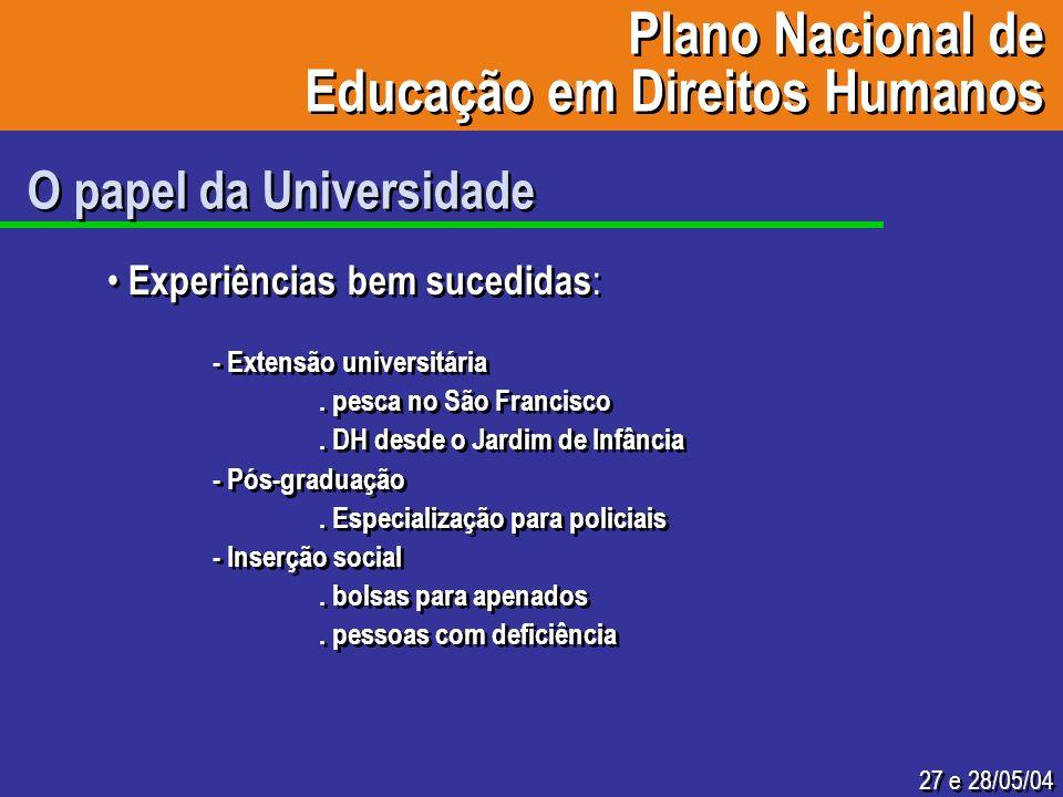 27 e 28/05/04 O papel da Universidade Experiências bem sucedidas : - Extensão universitária. pesca no São Francisco. DH desde o Jardim de Infância - P