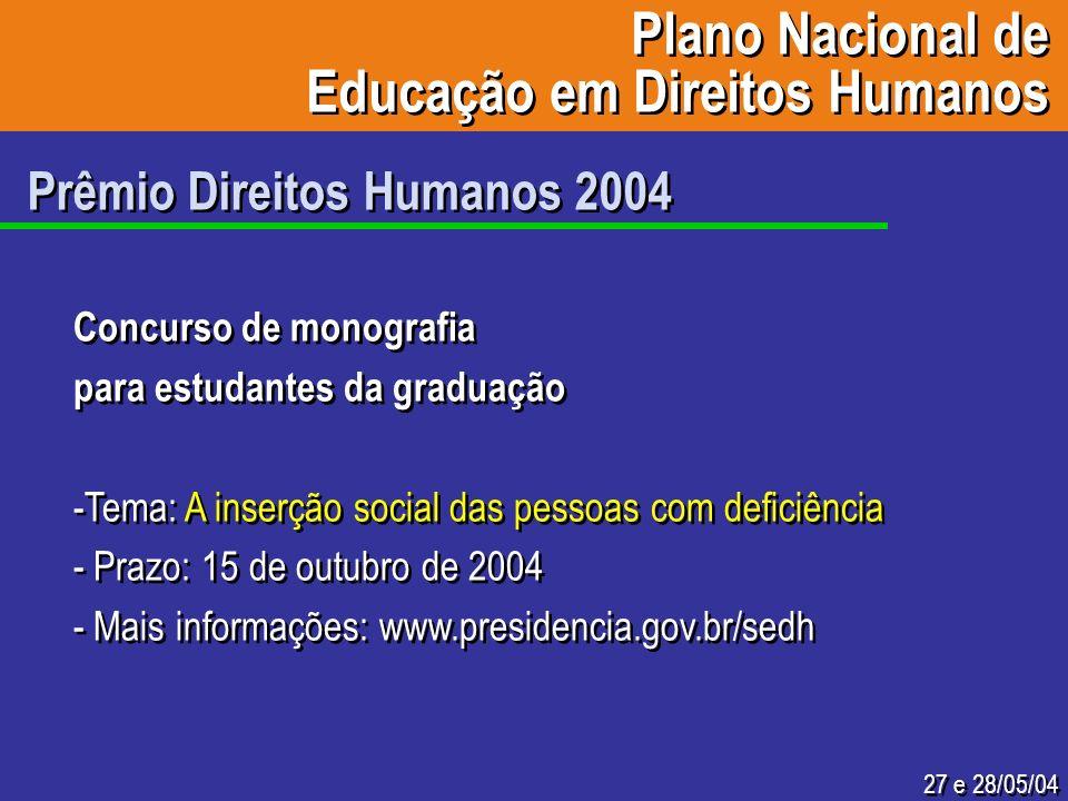 27 e 28/05/04 Prêmio Direitos Humanos 2004 Concurso de monografia para estudantes da graduação -Tema: A inserção social das pessoas com deficiência -