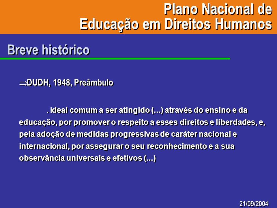 Plano Nacional de Educação em Direitos Humanos Plano Nacional de Educação em Direitos Humanos 21/09/2004 Breve histórico DUDH, 1948, Preâmbulo. I deal