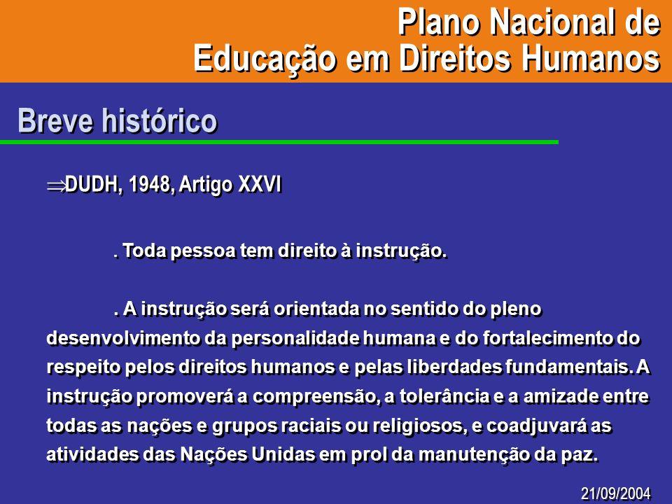 Plano Nacional de Educação em Direitos Humanos Plano Nacional de Educação em Direitos Humanos 21/09/2004 Breve histórico DUDH, 1948, Artigo XXVI. Toda