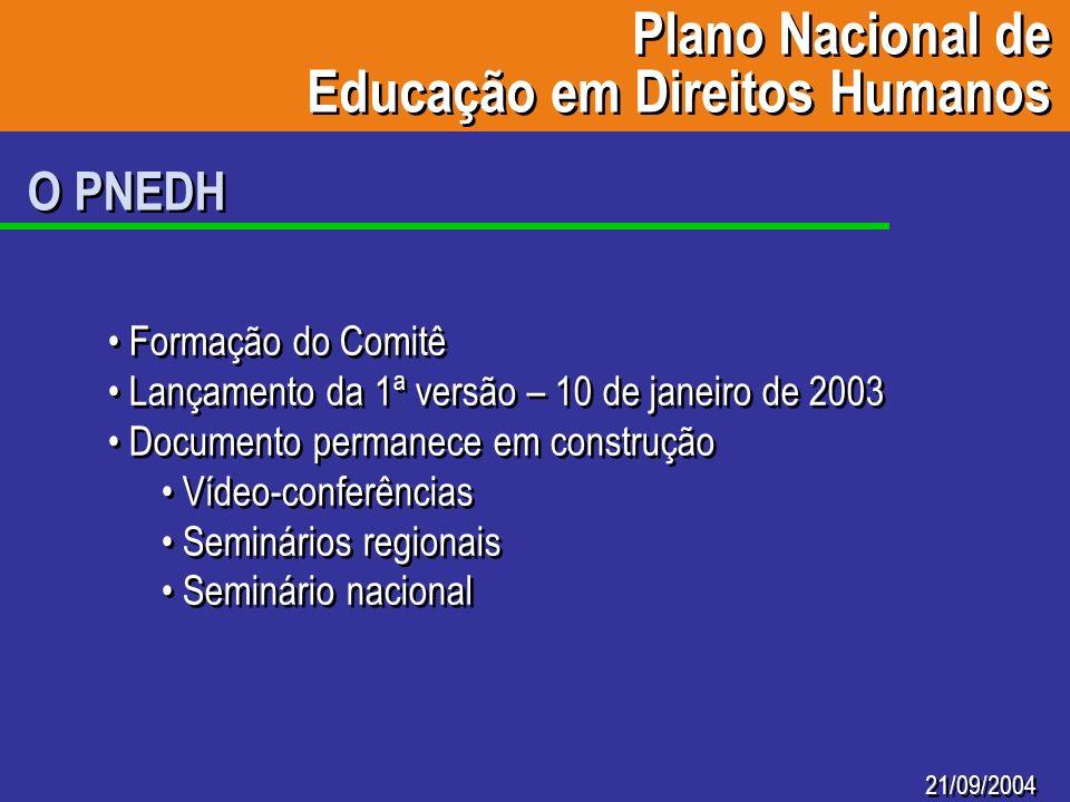 21/09/2004 O PNEDH Formação do Comitê Lançamento da 1ª versão – 10 de janeiro de 2003 Documento permanece em construção Vídeo-conferências Seminários