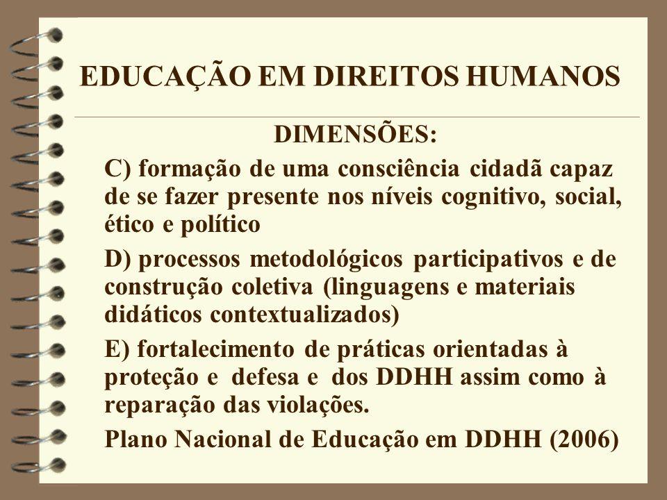 EDUCAÇÃO EM DIREITOS HUMANOS DIMENSÕES: C) formação de uma consciência cidadã capaz de se fazer presente nos níveis cognitivo, social, ético e polític