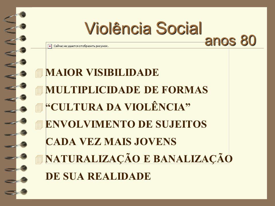 Violência Social 4 MAIOR VISIBILIDADE 4 MULTIPLICIDADE DE FORMAS 4 CULTURA DA VIOLÊNCIA 4 ENVOLVIMENTO DE SUJEITOS CADA VEZ MAIS JOVENS 4 NATURALIZAÇÃ