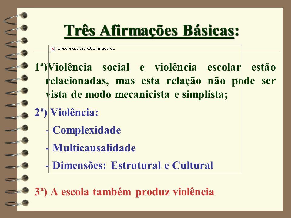 Três Afirmações Básicas: 1ª)Violência social e violência escolar estão relacionadas, mas esta relação não pode ser vista de modo mecanicista e simplis