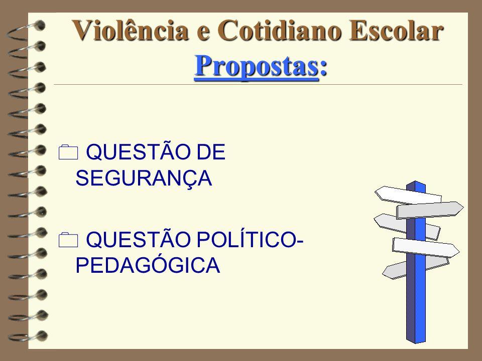 Violência e Cotidiano Escolar Propostas: QUESTÃO DE SEGURANÇA QUESTÃO POLÍTICO- PEDAGÓGICA