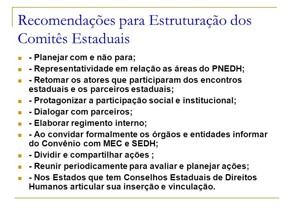 Recomendações para Estruturação dos Comitês Estaduais - Planejar com e não para; - Representatividade em relação as áreas do PNEDH; - Retomar os atore